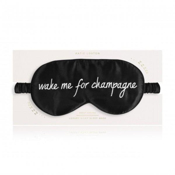 """Schlafmaske """"Wake me for Champagne"""" (Schwarz) von KATIE LOXTON"""