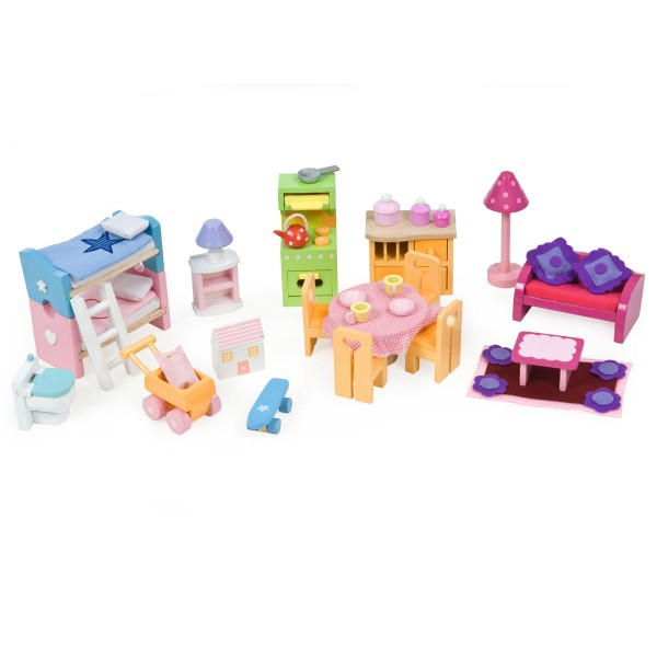 Stockbett, Küche, Sitzgelegenheit - perfekt ausgestattet Puppenfamilie!