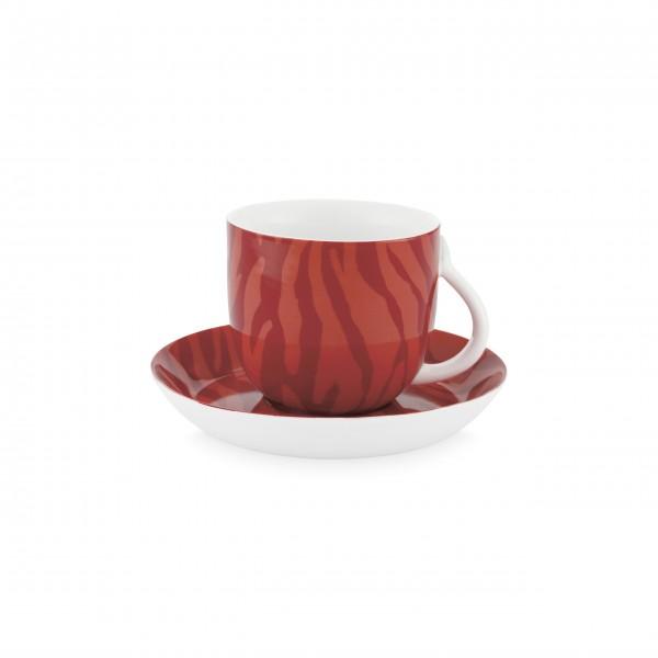 """FABIENNE CHAPOT Tasse mit Untertasse """"Zebra Stripes"""" (Rot)"""