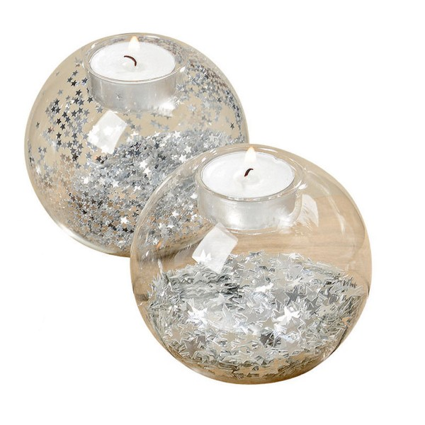 Ein tolle Deko-Duo - Windlichter mit silbernen Glitzersternen