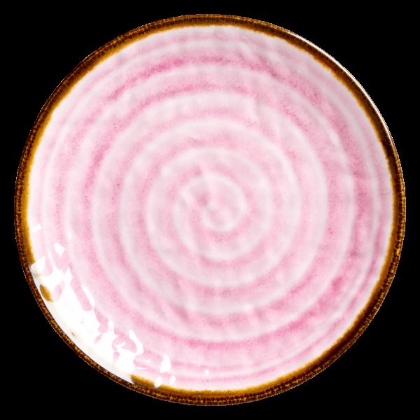 """Rice Melamin Teller """"Swirl"""" (Pink)"""