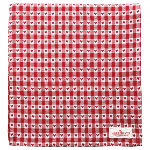 "GreenGate Tischdecke ""Heart Petit"" (Red) - 150 x 150 cm"