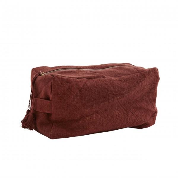 Madam Stoltz Kulturbeutel aus Baumwolle - L (Rot)