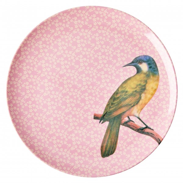 """Vöglein flieg - der Rice Melamin Essteller """"Vintage Bird"""" (Pink)"""