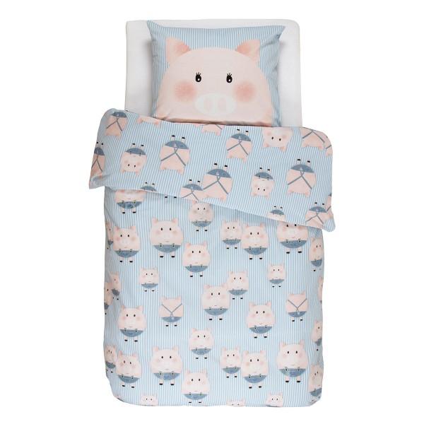 Niedliche Kinder-Bettwäsche mit Schweinchen
