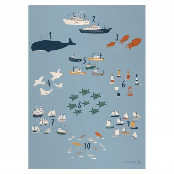 """Poster """"Zahlen - Seven Seas"""" von sebra"""