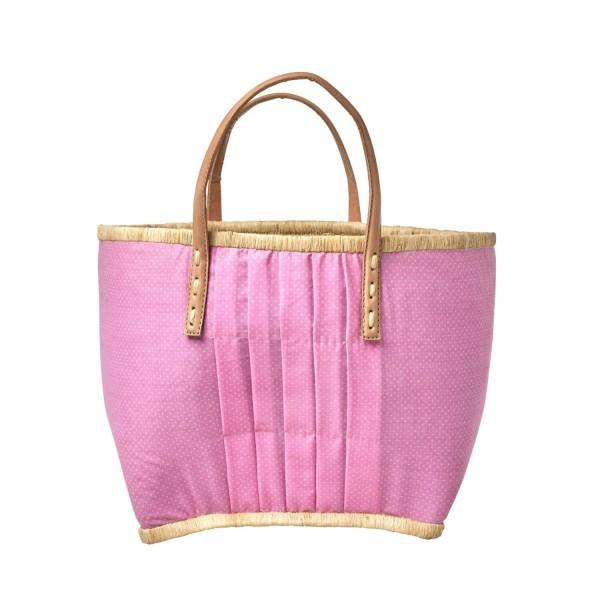 rice Korbtasche aus Raffia - Medium (Pink/Weiß - Gepunktet)