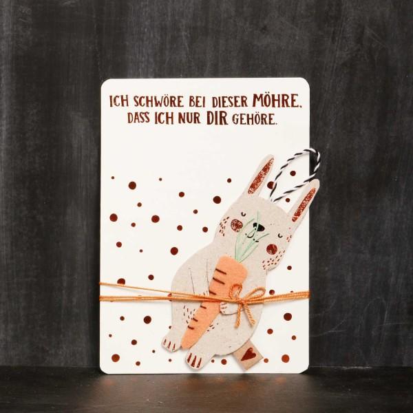 """Grußkarte Ostern """"Lieblingshasen - Möhre"""" von Good old friends."""
