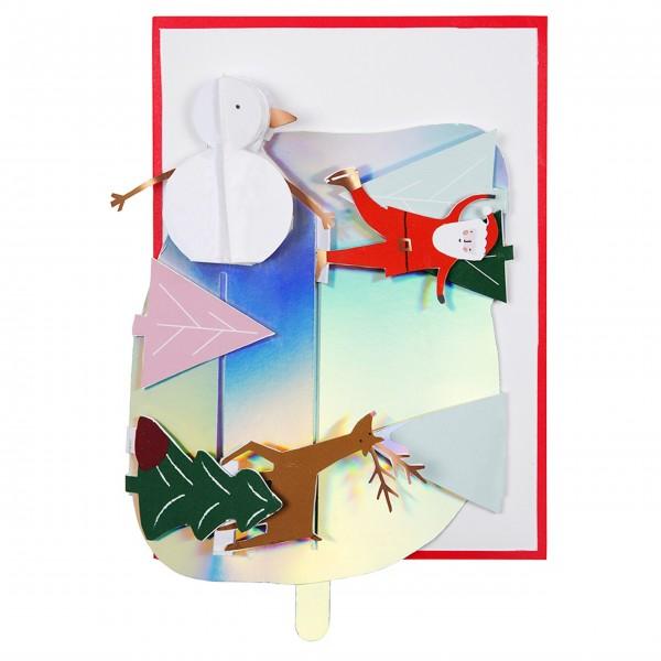 """Grußkarte """"Weihnachten-Eislaufen"""" von Meri Meri"""