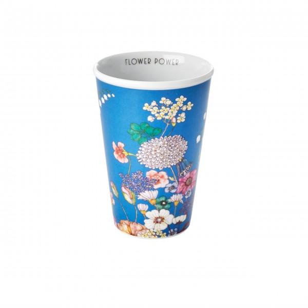 """Rice Porzellan Becher """"Flower Collage - Flower Power"""" - 300 ml (Blau)"""