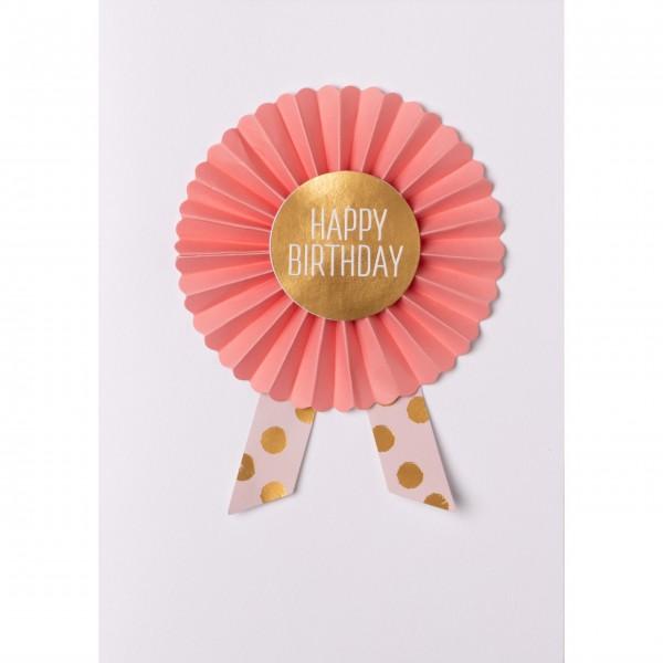 """Glückwunschkarte """"Happy Birthday"""" - mit Orden (Apricot/Gold) von räder Design"""