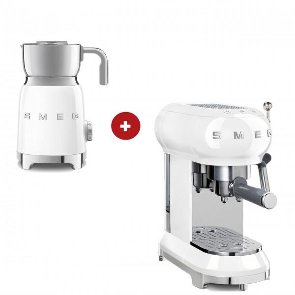 smeg Espressomaschine und smeg Milchaufschäumer im Set (Weiß)