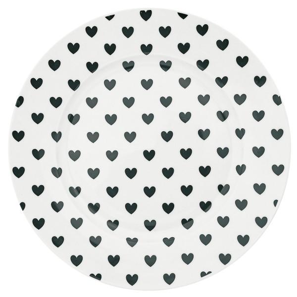 Großer Porzellanteller von Miss Étoile mit süßem Herzchen-Print