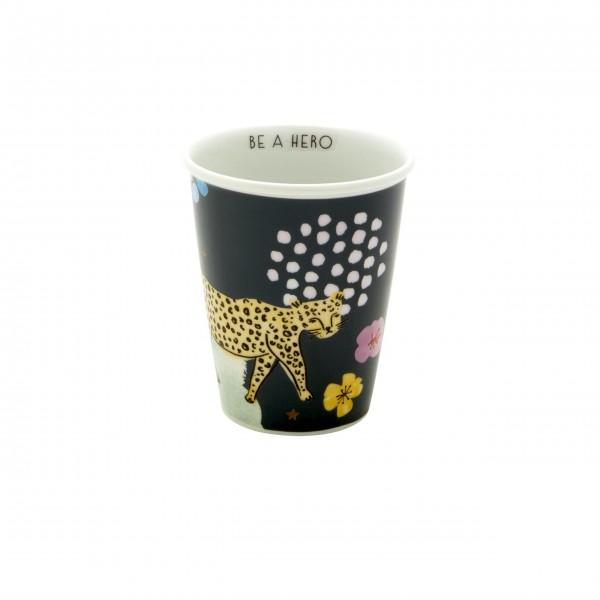 """Jetzt wirds wild - hier kommt der Rice Porzellan Becher """"Be a Hero - Leopard"""" - 225 ml (Schwarz)"""