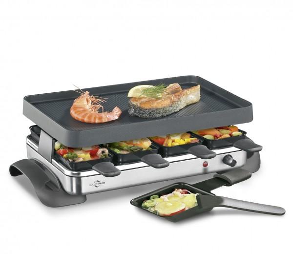 Das 8er Raclette Exclusive enthält sowohl eine Granitsteinplatte, als auch eine Grillplatte