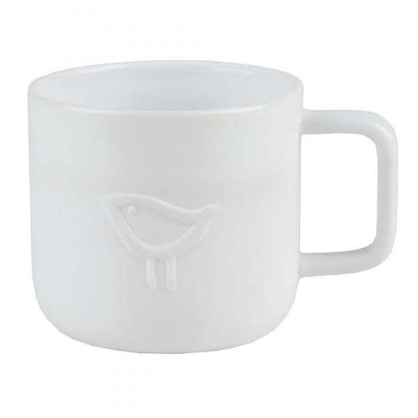"""Kindergeschirr Tasse aus Prozellan """"KIDS - Vogel"""" (Weiß) von räder Design"""