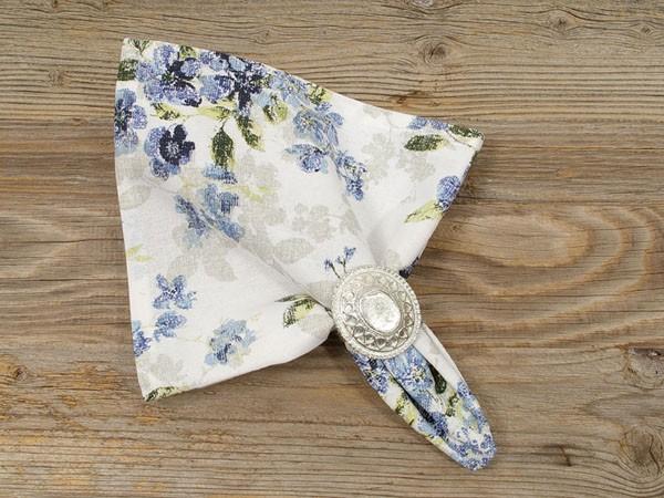 """Country Home Style Serviette """"Iris"""" (blau/weiß) 45x45cm"""