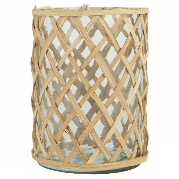 Ib Laursen Windlicht mit Bambusgeflecht - Klein