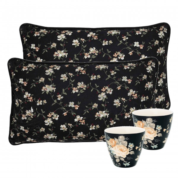 "GreenGate Set ""Jolie - Josephine"" (Black) - 2 Kissen & 2 Latte Cups"