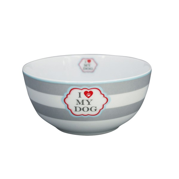 "Krasilnikoff Schale - Happy Bowl ""I Love my Dog"" (Stripes)"
