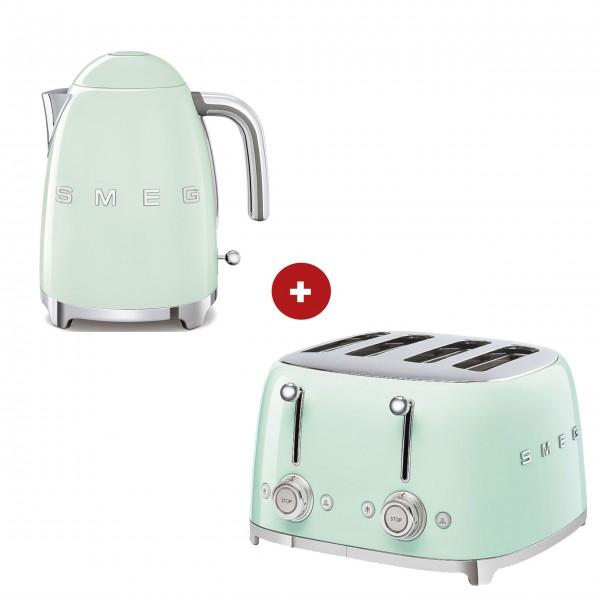 smeg Set – 4-Schlitz-Toaster und Wasserkocher feste Temperatur (Pastellgrün)