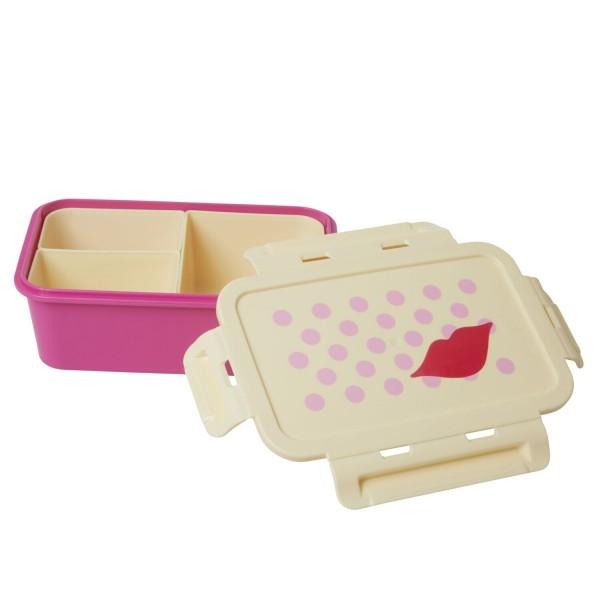 "rice Lunchbox mit 3 Fächern ""Kiss/Kuss"" (Pink/Rot)"