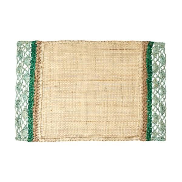 rice Platzset aus Raffia mit Bordüre (Grün)