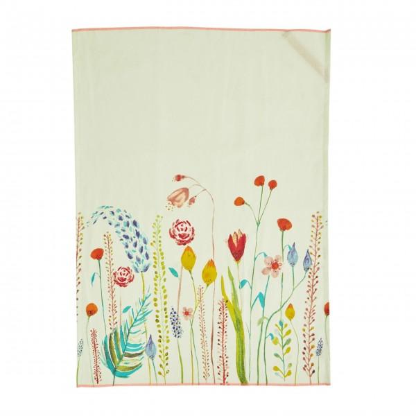 """rice Geschirrtuch aus Baumwolle """"Summer Flowers"""" (Sage Green - Salbeigrün)"""