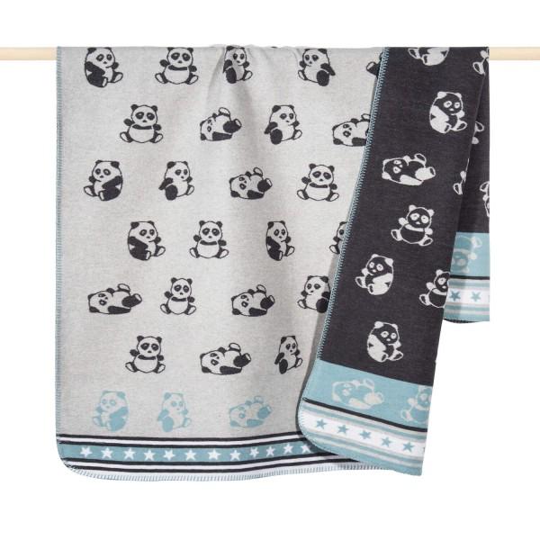 "Babydecke ""Panda"" - 100x150cm (Blau) von pad"