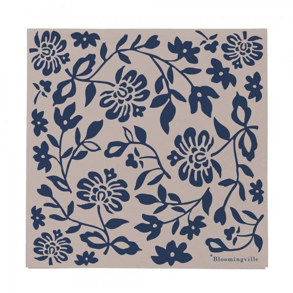 """Bloomingville Papierservietten im Set """"Blumen"""" - 20-tlg. (Blau)"""