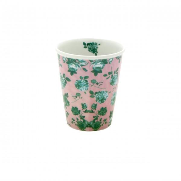 """Rice Porzellan Becher """"Rose"""" - 225 ml (Rosa/Grün)"""