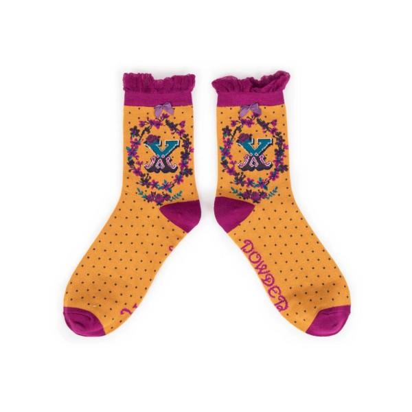 "Powder Damen Socken ""A-Z"" - Buchstabe X"